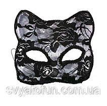 Маска карнавальна Кішка, гіпюр, чорна