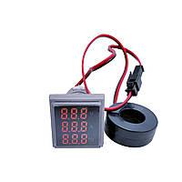 Амперметр + вольтметр + частотомер квадратный красный ST 955R, фото 1