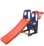 Детская горка GO 021 с баскетбольным кольцом и мячом, фото 2