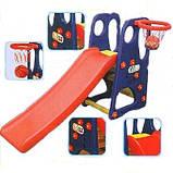 Детская горка GO 021 с баскетбольным кольцом и мячом, фото 3