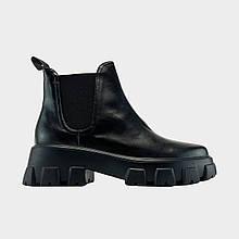 Женские демисезонные ботинки Prada Leather Beatle Boots