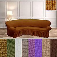 Турецький чохол на кутовий диван накидка натяжні, еврочехол на кутовий диван з оборкою Гірчичний жатка, фото 1