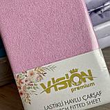 Простынь махровая на резинке универсальный размер 230х250см VISION Premium Турция Цвет - Розовый 100% Хлопок, фото 3