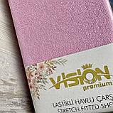 Простынь махровая на резинке универсальный размер 230х250см VISION Premium Турция Цвет - Розовый 100% Хлопок, фото 4