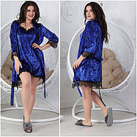 Велюровый комплект ночная рубашка и халат 25 (ЛТ)