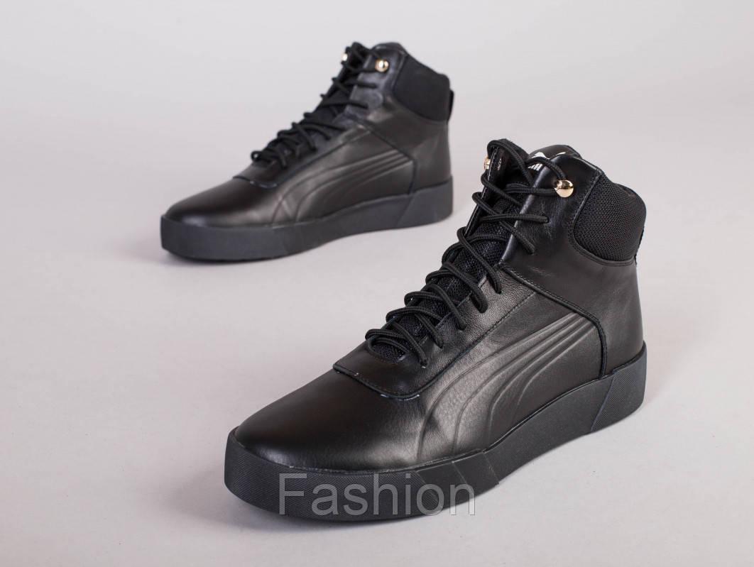 Мужские зимние кожаные черные ботинки, 40