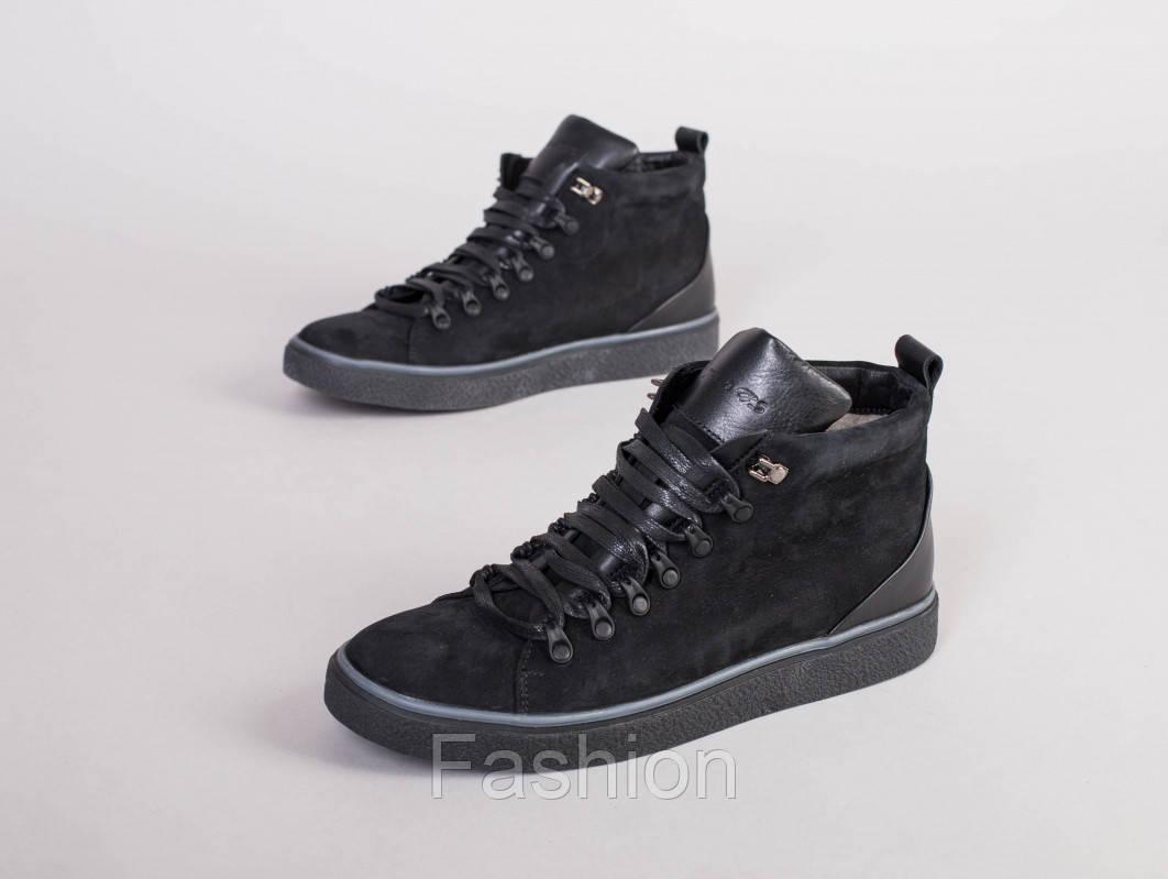 Мужские черные зимние ботинки из нубука, на шнурках