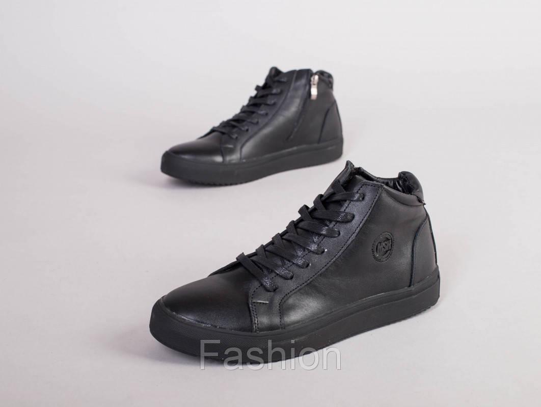 Мужские черные кожаные зимние ботинки на шнурках с замком, 40