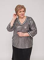Блуза у сріблясті паєтки з тасьмою