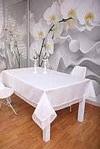 Скатертина Святкова з Мереживом 110-150 3D «Glamor» Прямокутна з великим візерунком Молочна №8