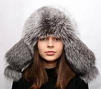 Модная женская меховая шапка Ушанка из чернобурки
