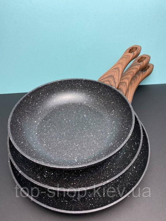 Набор сковородок с мраморное  покрытием A-Plus 20/24/28 см (3014)