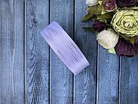 """Атласная лента с рисунком """"Точки-полосы фольга"""" 2,5 см, 25 ярд (около 23 м), серебро на белом оптом, фото 1"""