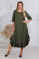 Платье длинное свободного кроя  большие размеры А497 хаки