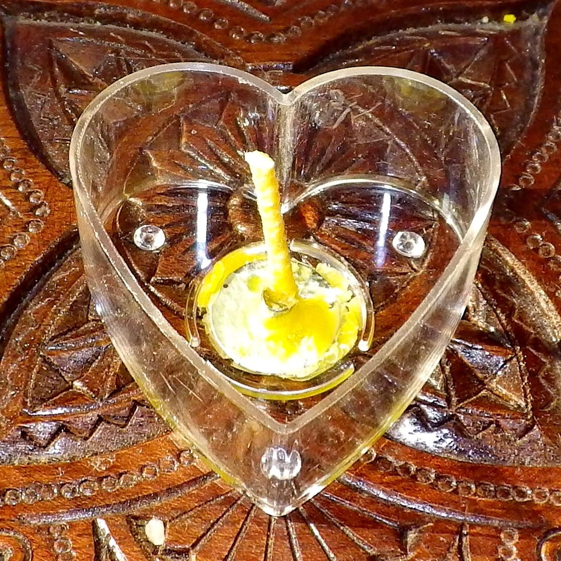 Набор для изготовления чайной свечи Валентинка (прозрачный контейнер чайной свечи, фиксатор фитиля, фитиль)