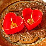 Набор для изготовления чайной свечи Валентинка (красный контейнер чайной свечи, фиксатор фитиля, фитиль), фото 2