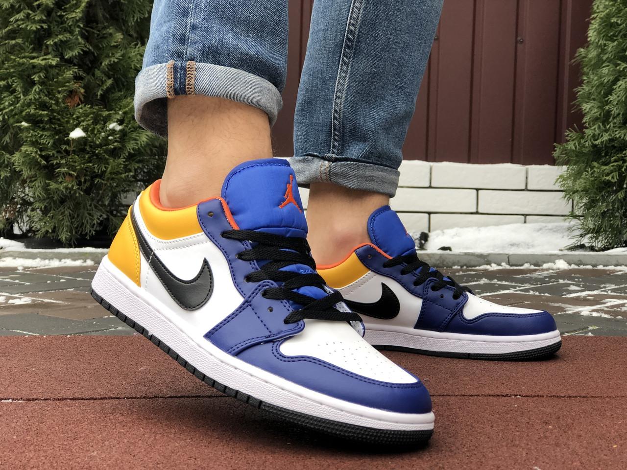 Чоловічі кросівки Nike Air Jordan 1 Low , білі з жовтим/сині/ чоловічі кросівки Найк (Топ репліка ААА+)