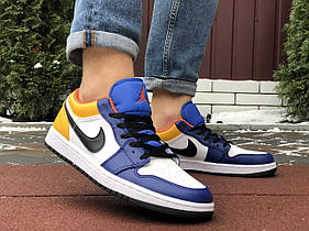 Мужские кроссовки Nike Air Jordan 1 Low , белые с желтым/синие/ чоловічі кросівки Найк (Топ реплика ААА+)