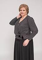 Блуза на запах у люрексовый рубчик укорочена на манжетике