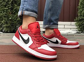 Мужские кроссовки Nike Air Jordan 1 Low , красные с белым / чоловічі кросівки Найк (Топ реплика ААА+)