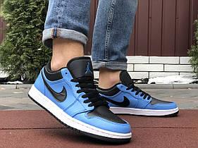 Мужские кроссовки Nike Air Jordan 1 Low , синие с черным / чоловічі кросівки Найк (Топ реплика ААА+)