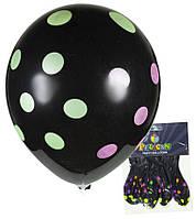 """Воздушные шары 1205-513 набор-5шт """"Pelican"""", Черный горошек 30см"""
