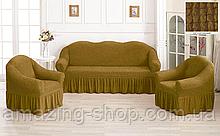 Чехлы Турецкие на диван + кресла | Дивандеки на диван и кресла | Накидки на диван и кресла | Цвет - Горчичный