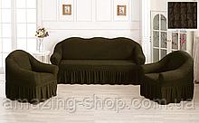 Чехлы Турецкие на диван + кресла | Дивандеки на диван и кресла | Накидки на диван и кресла | Цвет - Хаки