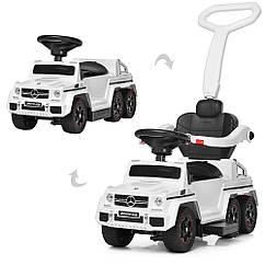 Детский электромобиль каталка-толокар M 3853 EL-1, Mercedes-Benz, резиновые колеса, кожаное сиденье, белый