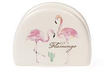 Салфетница керамическая 10см, Розовый Фламинго с золотой надписью BonaDi DM747-FL