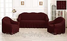 Чехлы Турецкие на диван + кресла | Дивандеки на диван и кресла | Накидки на диван и кресла | Цвет - Бордовый
