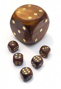 9100001 Гра 5 гральних кубиків в кубику 7х7х7см. Арт.277