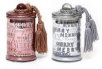 Свеча ароматизированная в стекле с крышкой и кисточкой, малая (серебро и бронза в асс, 110г) BonaDi 408-042