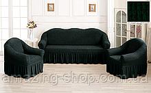 Чехлы Турецкие на диван + кресла | Дивандеки на диван и кресла | Накидки на диван и кресла | Цвет - Бутылочный