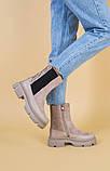 Ботинки демисезонные женские замшевые бежевые с кожаной вставкой, фото 5