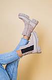 Ботинки демисезонные женские замшевые бежевые с кожаной вставкой, фото 7