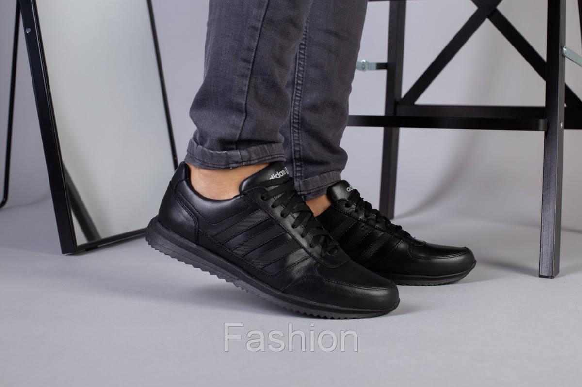 Чоловічі шкіряні чорні кросівки 40