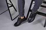 Чоловічі шкіряні чорні кросівки 40, фото 4