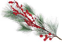 Декоративная ветка заснеженной хвои с красными ягодами, 60см BonaDi 901-012