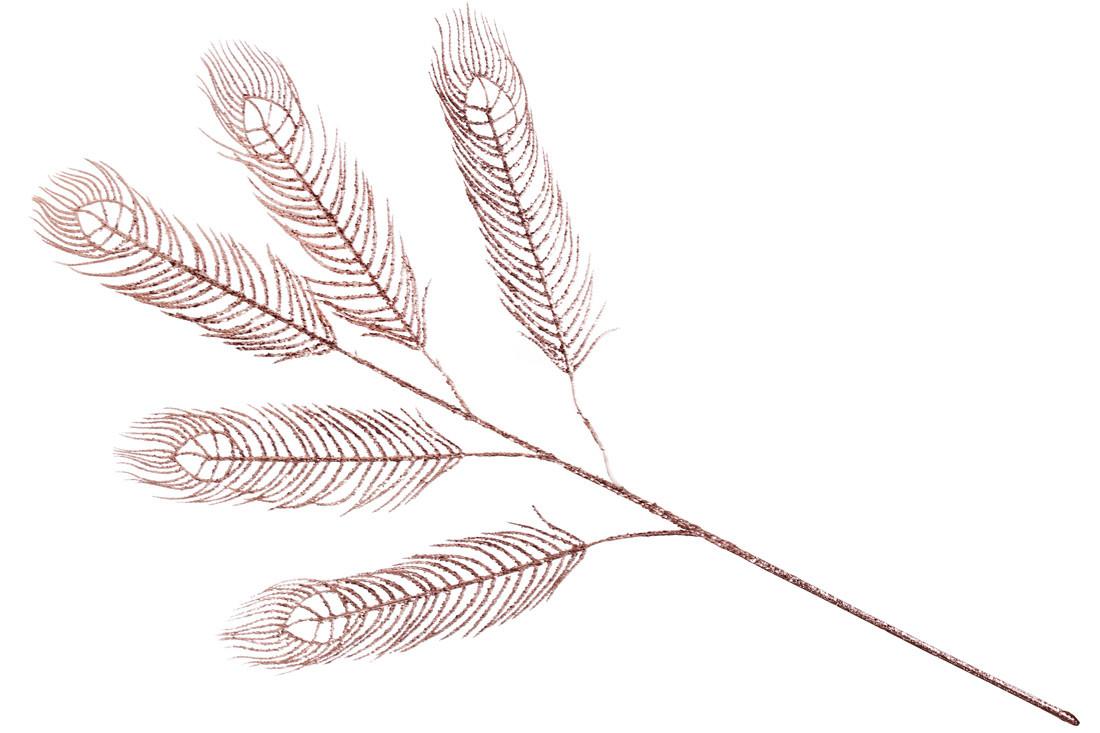 Декоративная ветка Павлиний Глаз с глитером, 98см, цвет - розовое золото BonaDi 128-118