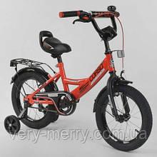 """Дитячий двоколісний велосипед Corso 14"""" (червоний колір) зі страхувальними колесами"""