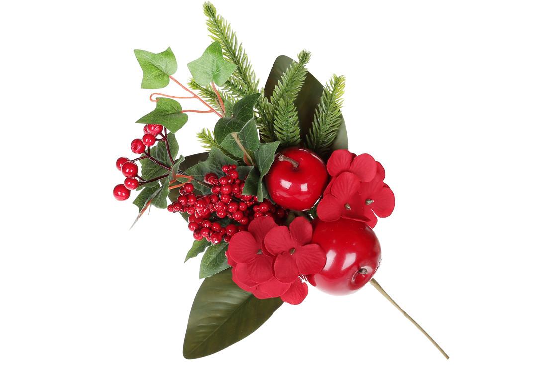 Декоративная ветка с ягодами и яблоками, 33см BonaDi YE1-018