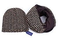 Шерстяной набор: шарф-снуд + шапка.