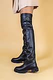 Ботфорты женские кожаные черные на низком ходу деми, фото 2