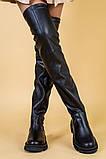 Ботфорты женские кожаные черные на низком ходу деми, фото 3