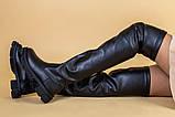 Ботфорты женские кожаные черные на низком ходу деми, фото 4