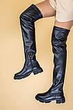 Ботфорты женские кожаные черные на низком ходу деми, фото 5