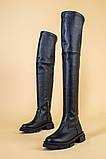 Ботфорты женские кожаные черные на низком ходу деми, фото 7