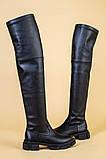 Ботфорты женские кожаные черные на низком ходу деми, фото 8