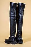 Ботфорты женские кожаные черные на низком ходу деми, фото 9